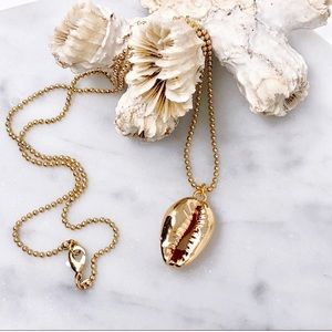 14K Gold Cowrie Shell Necklace
